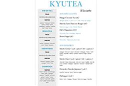 KyuTea Perpignan   Carte du salon de thé